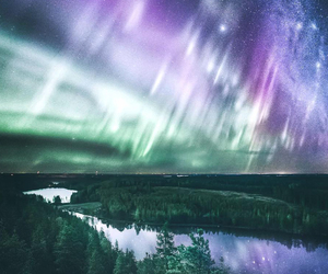 aurora, space, and nature image