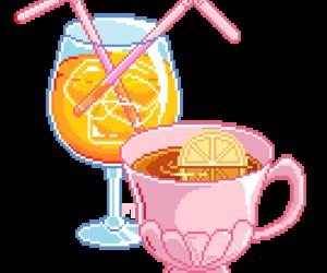 cup, ice, and lemon image
