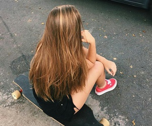 girl, hair, and skate image