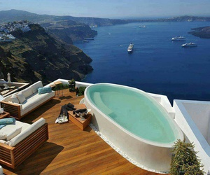 sea, Greece, and pool image