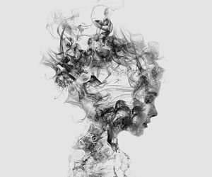art, black and white, and woman image