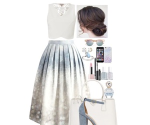 blouse, Polyvore, and suede heels image