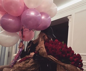 balloons, flowers, and romantic image
