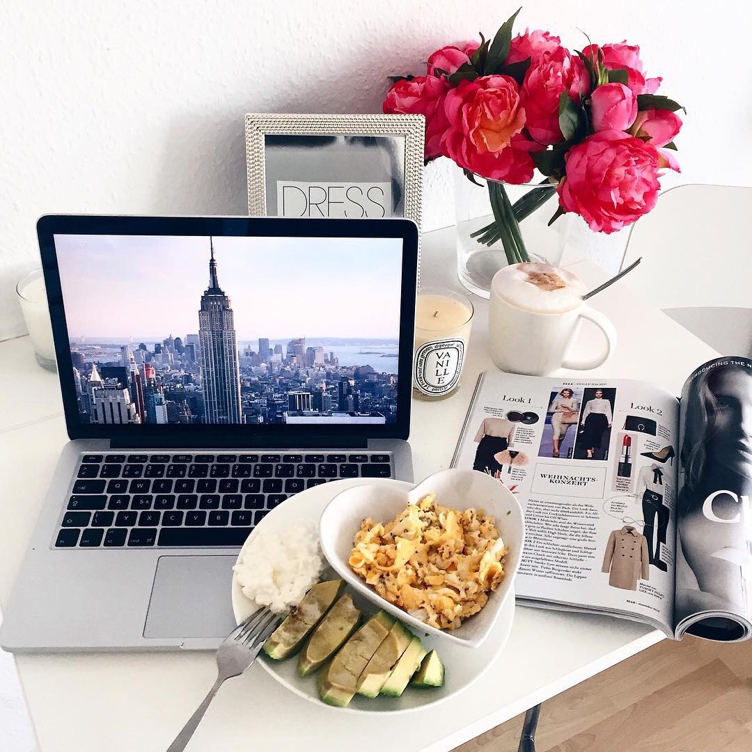 flowers, food, and laptop image