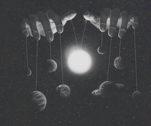 planet, hands, and space image