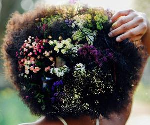 flowers, hair, and Afro image