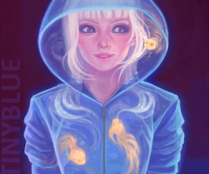 girl, fish, and art image