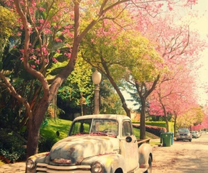 car, pink, and tree image