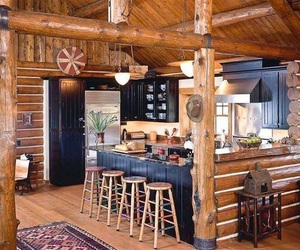 country, kitchen, and log cabin image