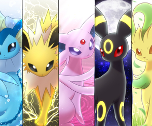 eevee, glaceon, and jolteon image