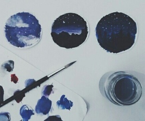 aquarelle, moon, and paint image