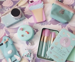 makeup, blue, and case image