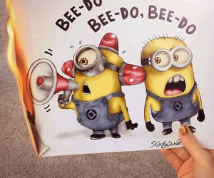 minions, drawing, and fire image
