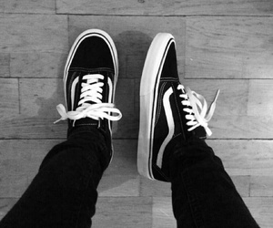 black and white, vans, and skater shoe image