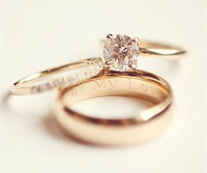 wedding, bride, and rings image