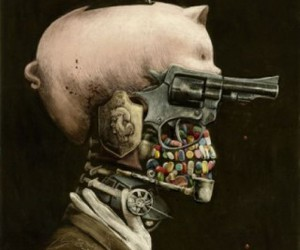 skull, gun, and art image