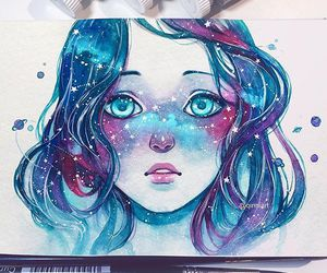 art, blue, and galaxy image
