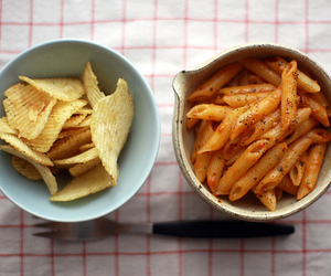 food, chips, and pasta image