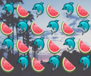 dolphin, wallpaper, and watermelon image