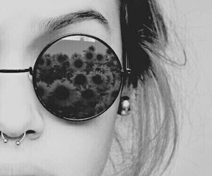 flowers, black and white, and sunglasses image