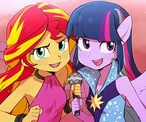 twilight sparkle, equestria girls, and sunset shimmer image