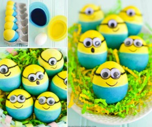 minions, easter, and eggs image