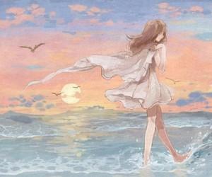 anime, art, and bird image