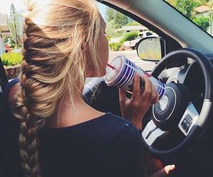 hair, girl, and car image
