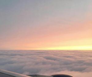 airplane, sunrise, and travel image