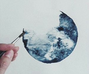 art, blue, and moon image