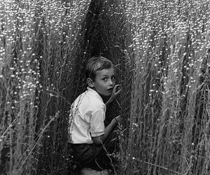 boy, black and white, and field image