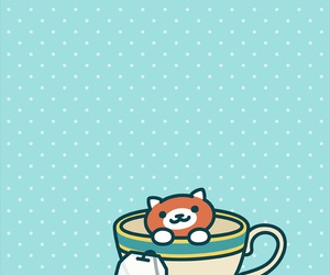 cat, tea, and wallpaper image