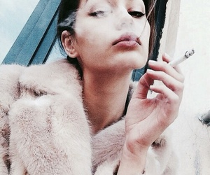 girl, smoke, and beauty image