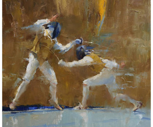 art, fencing, and oil image