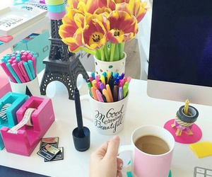 desk, flowers, and girly image