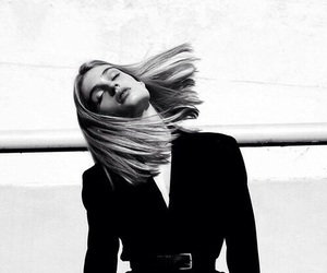 black and white, hair, and model image