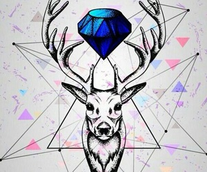deer, diamond, and wallpaper image