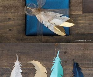 feathers, gold, and cute image