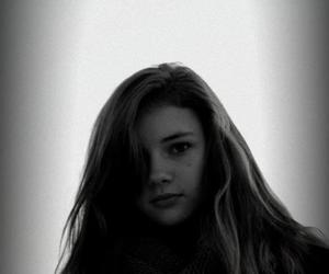 black and white, girl, and scarf image