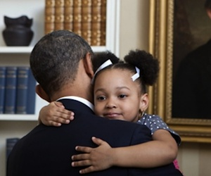 hug, kid, and obama image