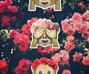 wallpaper, monkey, and flowers image