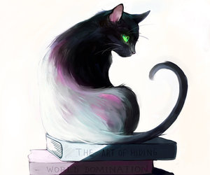 cat, book, and art image