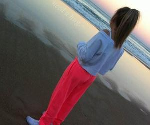 girl, beach, and pink image