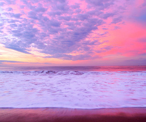 sky, pink, and beach image