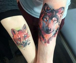 wolf, fox, and tattoo image