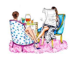 art, fashion illustration, and friends image