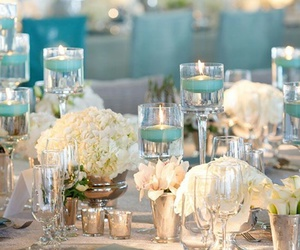 candles, blue, and dinner image