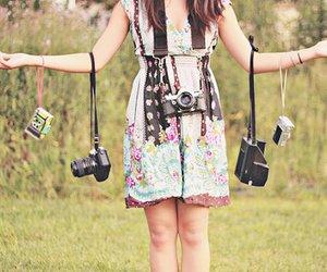 camera, girl, and dress image