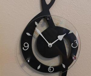 clock, music, and wall image