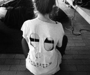 girl, black and white, and skull image
